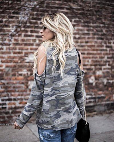 DAY8 Manche Chic Bustier Grande Fille Printemps Femme Femme Fashion T Vetement Vetement Sport Camouflage Cher Femme Femme Longue Femme Haut Pas Blouse Soiree Taille Ete Casual Chemise Shirt Top 84q8rFwx7