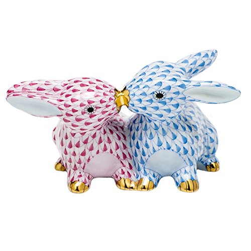 - Herend Kissing Bunnies Porcelain Figurine Blue and Raspberry Fishnet
