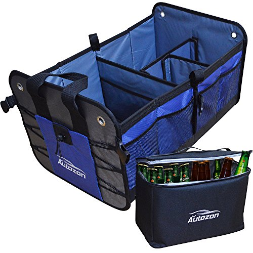 Autozon Premium Car Trunk Organizer – Collapsible Cargo Storage Container for SUV, Car, Truck, Van, Home, Auto with Insulation Cooler Bag. Durable Anti-slip/Waterproof Bottom, (Cargo Storage Containers)