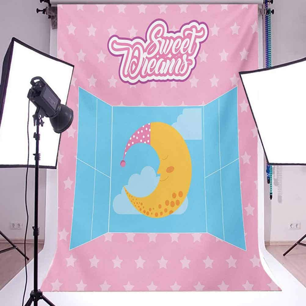 Pink Starry Backdrop with Open Window and Sleeping Moon in Sky Background for Baby Shower Bridal Wedding Studio Photography Pictures Pink Yellow and Pale Blu Sweet Dreams 6x8 FT Photography Backdrop