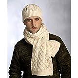 100% Irish Merino Wool Aran Hat & Scarf Set with Traiditonal Honeycomb Stitching