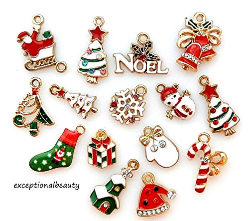 Enameled Holiday Bells - Lot of 14 Christmas Santa Sleigh Snowman Tree Snowflake Candy Cane Charms Set