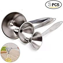 Stainless Steel Funnel,Cuteadoy Kitchen Funnels With Handles, Sizes Large To Small Funnels for Transferring of Liquid, Fluid, Dry Ingredients & Powder, Set of 3