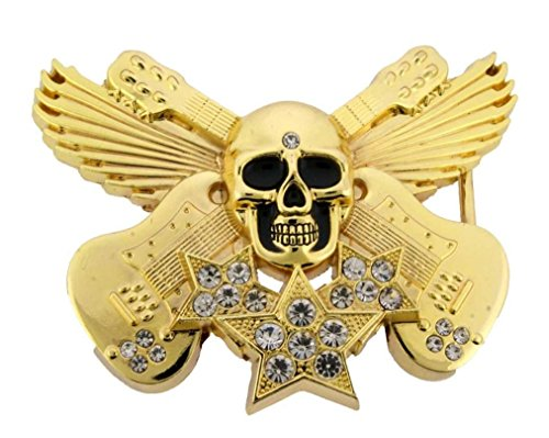 Music Guitars Skull Crossbones Skeleton Gothic Belt Buckle Rhinestones Metal Fashion