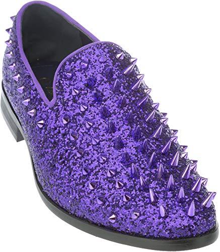 sparko16 Mens Slip-On Fashion-Loafer Sparkling-Glitter Purple Dress-Shoes Size 11