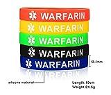 VNOX 5 Pcs a Set Silicone WARFARIN Medical Alert ID Wristband Bangle Identification Bracelet