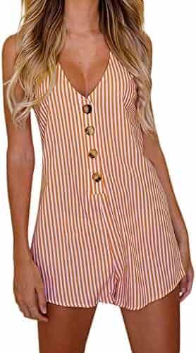 60bbc28c08 Ghazzi Women Jumpsuits Summer Stripe Print Button Romper Short Pants Playsuit  Overalls Bodysuit Beachwear