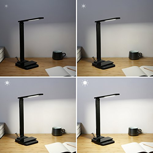 AUKEY LED Desk Lamp with Wireless Charger and 4 Brightness Levels, Compatible with iPhone X / 8 Plus, Samsung Galaxy Note8 / S8+, and Other Qi-Enabled Phones