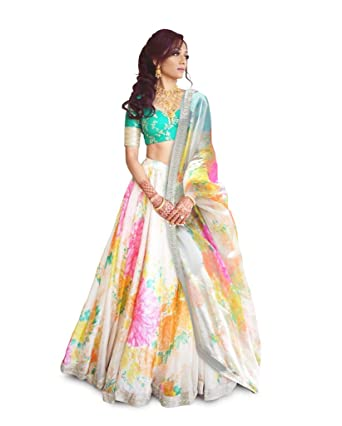 667b2ef32da94c Image Unavailable. Image not available for. Colour: FABPIXEL Women's Art  Silk Floral Print Embroidered Lehenga ...