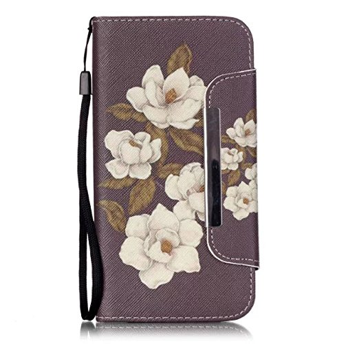 iPhone 5C Case,[Begonia Flowers] Style [Kickstand] [Cards Slots] Premium PU Leather Wallet Flip Cover Magnetic Folio Case With Lanyard for Apple iPhone 5C
