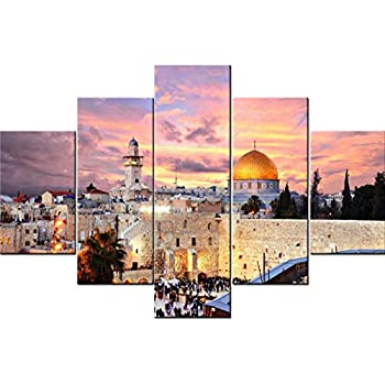 Islamic Wall Art Jerusalem Paintings Muslim Pictures 5 Pcs/Multi Panel Canvas Home Decor for Living Room Modern Artwork Giclee Wooden Framed Gallery Wrapped Stretched Ready to Hang(60''Wx40''H)