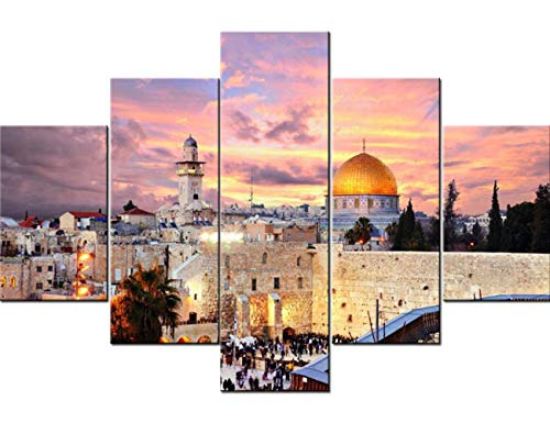 - Islamic Wall Art Jerusalem Paintings Muslim Pictures 5 Pcs/Multi Panel Canvas Home Decor for Living Room Modern Artwork Giclee Wooden Framed Gallery Wrapped Stretched Ready to Hang(60''Wx40''H)