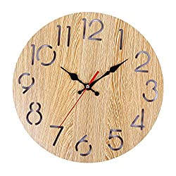 PASATO Vintage Rustic Wooden Wall Clock Antique Shabby Retro Home Kitchen Room Decor Nordic Style Living Room/Office Wall Wall Clock Wall Decoration(Beige,One Size)