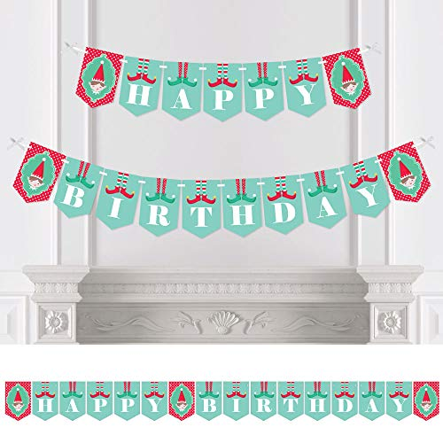 Big Dot of Happiness Elf Squad - Kids Elf Birthday Party Bunting Banner - Birthday Party Decorations - Happy Birthday -