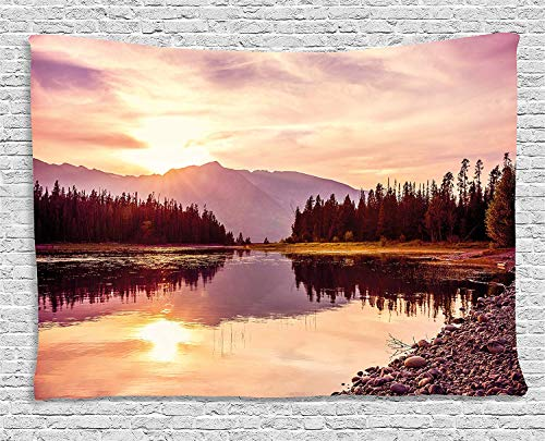 JAKE SAWYERS Landscape Tapestry, Grand Teton Mountain Range at Sunset Jackson Lake Calm National Park USA, Wall Hanging Bedroom Living Room Dorm, 80 W X 60 L inches, Peach Light Yellow