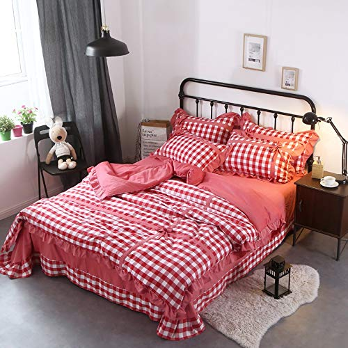 Ksainiy Fashion Home Bedding Girl Red Plaid Bow Quilt Cover Four Sets of Washed Cotton 200230cm Quilt Cover Soft and Comfortable Sheets by Ksainiy