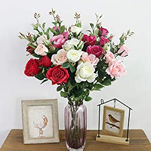 Artificial Silk Fake Flowers Rose Floral Decor Bouquet- 6 Heads Fake Flowers for Decoration in Vase- Silk Flowers in Vase for Home Decor- Dusty Rose Silk Flowers- Bunch Roses 55