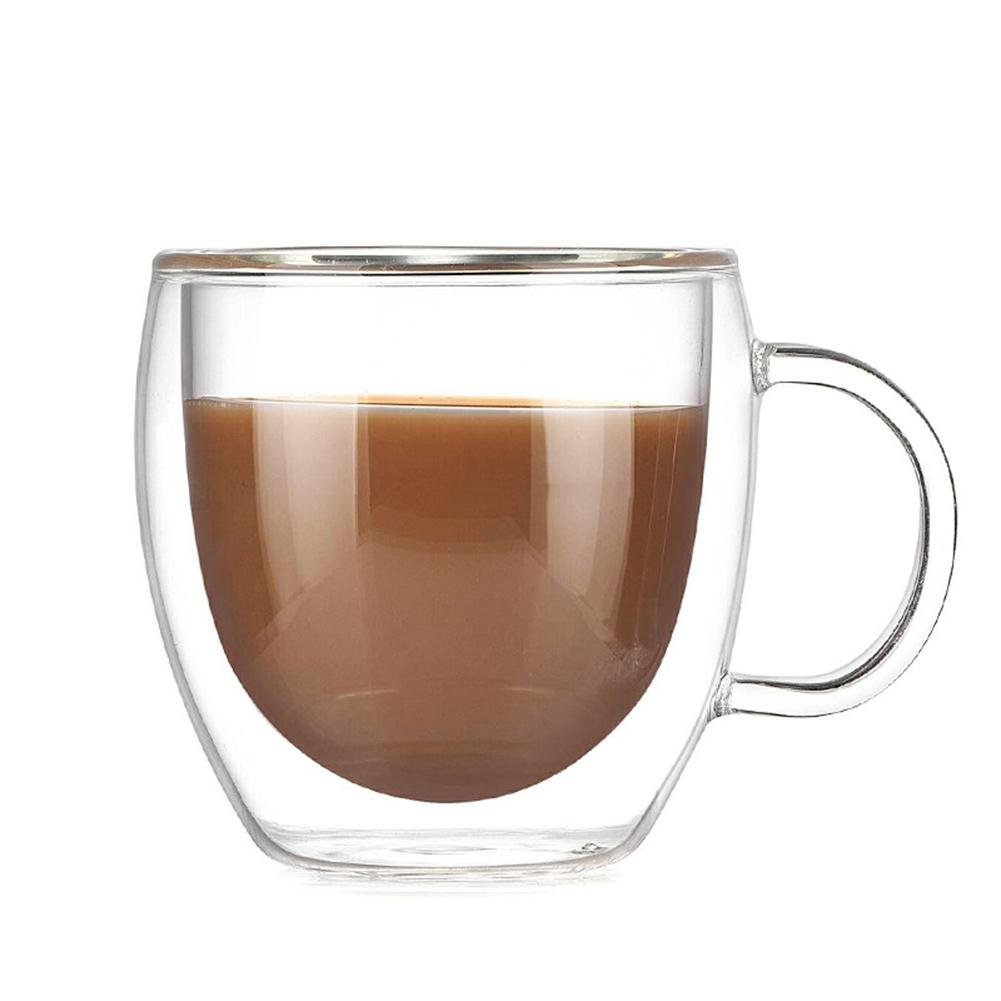 Double Walled Glasses 200ml Large Coffee Mugs Transparent Borosilicate Glass Cups for Tea, Coffee, Latte, Cappuccino, Espresso, Beer- Heat-Resistance Cups, Set of 2 Rundaotong-US