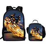 Nopersonality Children's Backpack Young Kids Novelty Motorbike Prints Bagpack + Small Lunch Box 2PCS/Set