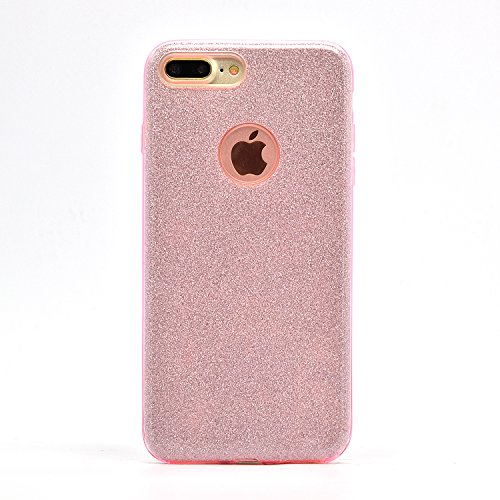 TPU Diamante Funda para iPhone 7 Plus 5.5 Sunroyal ® 3 en 1 Carcasa Ultra Slim Glitter Bling Brillo Luxury Sparkly Brillante Suave Flexible Bumper Parachoques Case Cover [Resistente a los Arañazos] P