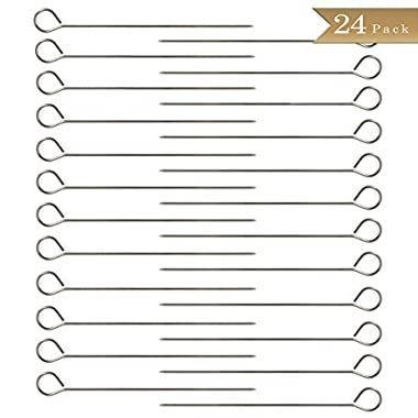 Pack of 24 - Stainless Steel BBQ Skewers with Ring-Tip Handle - 9