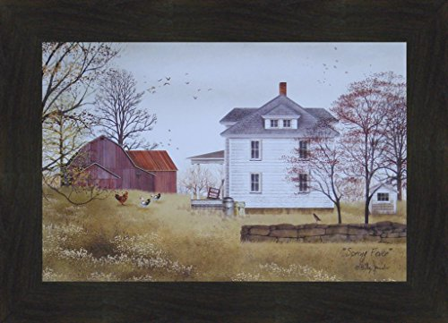 Spring Fever by Billy Jacobs 16x22 Farmhouse Farm Red Barn Chickens Roosters Primitive Folk Art Print Framed Picture (2