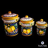 Touch of Sicily, Hand Painted Italian Ceramic Canister. Pattern B.