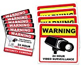 Video Surveillance Camera Sticker Sign - 10 Pack Decal - Home Business Alarm System Stickers - (4)5½' x 5½' & (6)3' x 4' - Adhesive Under 24 Hours Security Warning Signs - Robbery & Theft Prevention
