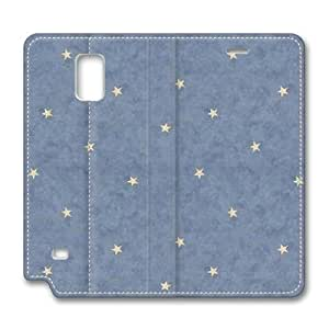 Brain114 Fashion Style Case Design Flip Folio PU Leather Cover Standup Cover Case with Blue Stars Pattern Skin for Samsung Galaxy Note 4