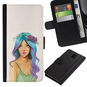 KingStore / Leather Etui en cuir / Samsung Galaxy Note 3 III / Hippie gratuito Fashion Girl Mujer;
