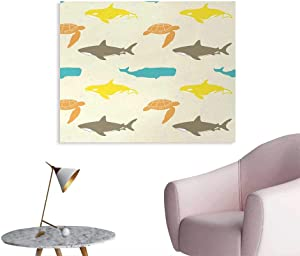 Unprecall Sea Animals Poster Paper Pattern with Whale Art Stickers Shark and Turtle Aquarium Doodle Style Marine LifeIvory Taupe Peach W28 xL20