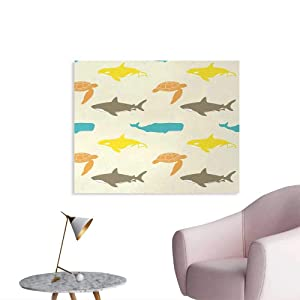 Tudouhoho Sea Animals The Office Poster Pattern with Whale Mural Decoration Shark and Turtle Aquarium Doodle Style Marine LifeIvory Taupe Peach W32 xL24