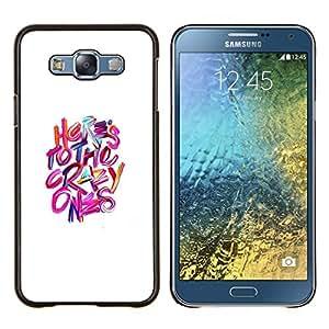 KLONGSHOP // Cubierta de piel con cierre a presión Shell trasero duro de goma Protección Caso - Los locos Blanco Rosa Púrpura Inspiring - Samsung Galaxy E7 E700 //