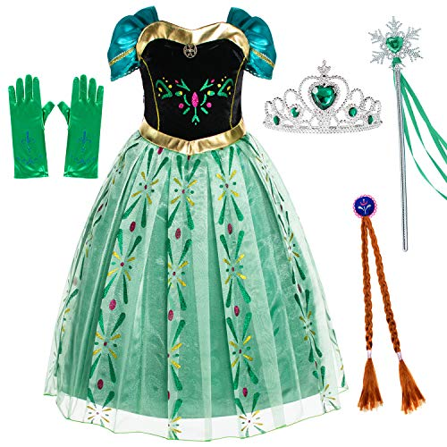 Princess Anna Costumes Birthday Party Dress Up for Little Girls 3T 4T (110cm) -