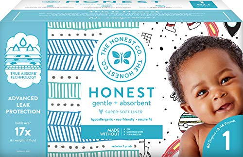 The Honest Company Club Box Diapers with TrueAbsorb Technology, Teal Tribal & Space Travel, Size 1, 80 Count by The Honest Company
