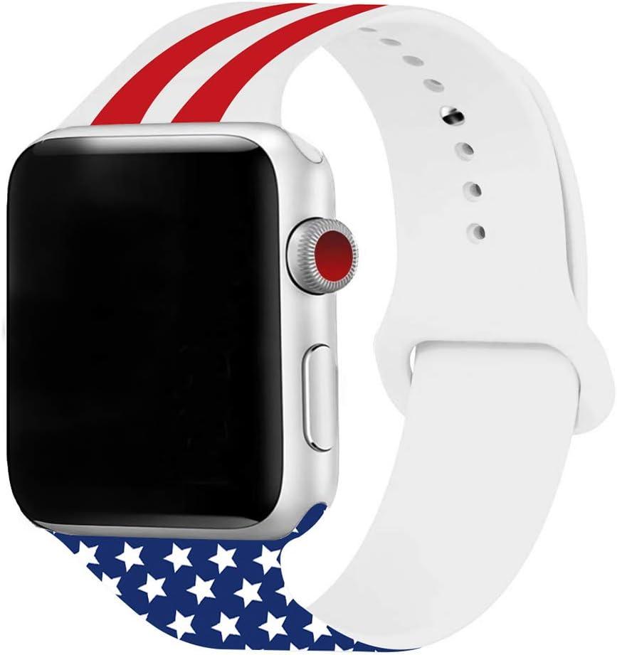 3H-SENDER Bandas para reloj inteligente con bandera de Estados Unidos, correas de repuesto de silicona suave para Apple Watch Series 4 3 2 1 para iWatch 42 mm/44 mm: Amazon.es: Electrónica