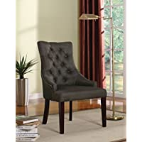 ACME Drogo Gray Fabric and Walnut Side Chair Set of 2