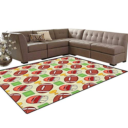Football Door Mats Area Rug Equipment Icons Arena Ball Trophy Cup Winning The Championship Theme Anti-Skid Area Rugs 6'x9' Dark Coral Green Yellow