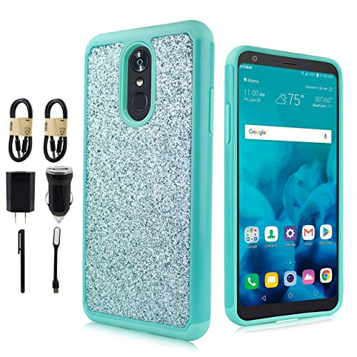 LG Stylo 4 Case,LG Q Stylus Case LG Stylo 4 Plus,Stylus 4 Case, Glitter Shock Proof Edge Scratch Shield Hybrid Layers Bumper Slim Cover Screen Film [Value Bundle] (Teal) ()