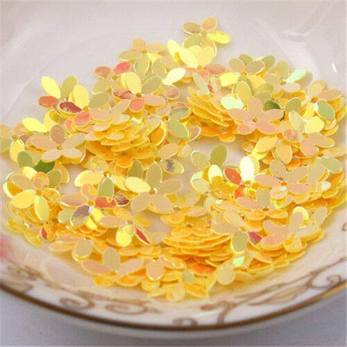 MOPOLIS 100x Flower Loose Sequins With Golden Tone Paillette DIY Sewing Accessories 10mm | Color - Yellow