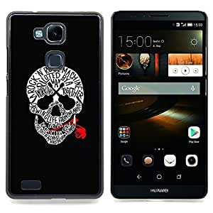 - Skull Music Rose Rock Roll Guitar Black - - Snap-On Rugged Hard Cover Case Funny HouseFOR HUAWEI Ascend Mate 7