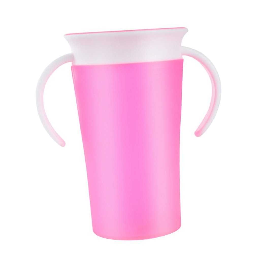 Prettyia Munchkin Miracle Non-Spill 360 Degree Seal Proof Valve Toddler Sippy Cup - Pink, as described