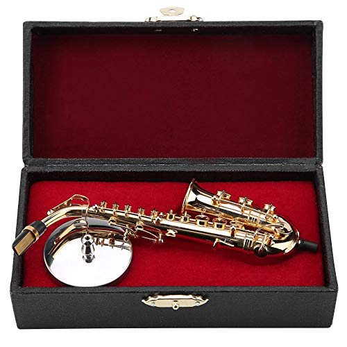 Shanbor A Copper Plated Alto Sax Model Gift Ornaments,Miniature Saxophone Saxophone Model Instrument Model Musical Model