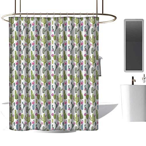 Mannwarehouse Exotic Home Decor Shower Curtain Saguaro San Pedro Cactus Rebutia Floral Desert Wilderness Pattern Custom Shower Curtain W55 xL72 -