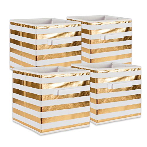 DII Foldable Fabric Storage Containers ((11x11x11) Stripe Gold - Set of 4, Small (4)