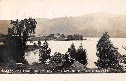 Lake George New York Sabbath Day Point Divinity Bay Real Photo Postcard JC932388