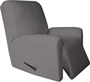 Easy-Going 4 Pieces Microfiber Stretch Recliner Slipcover – Spandex Non-Slip Soft Fitted Sofa Couch Cover, Washable Furniture Protector with Anti-Skid Elastic Bottom for Kids (Recliner, Light Gray)