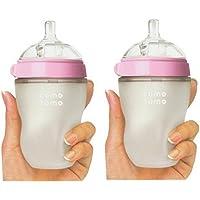 (跨境自营)(包税) Comotomo可么多么 奶瓶 粉色8 Ounces (250ml) 两只装 (美国品牌)