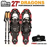 New MTN Extreme Lightweight All Terrian Man Woman Kid Teen Snowshoes up to 255 lbs /Free Bag + Nordic Pole - Red (27'' inch)