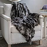 The Connecticut Home Company Original Luxury Faux Fur Throw Blanket, Extra Soft, Plush, Fluffy, Warm, Large, Hypoallergenic, Perfect for Couch or Bed, Machine Wash, Microfiber 65'' x 50'' (Gray)